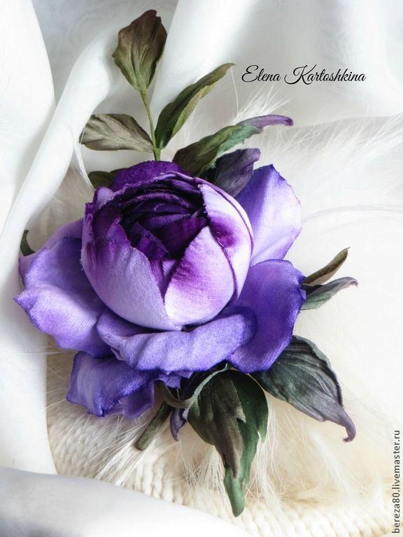 Купить Цветок розы из бархата. Заколка. Цветы из шелка. - фиолетовый, роза из ткани, роза из шелка