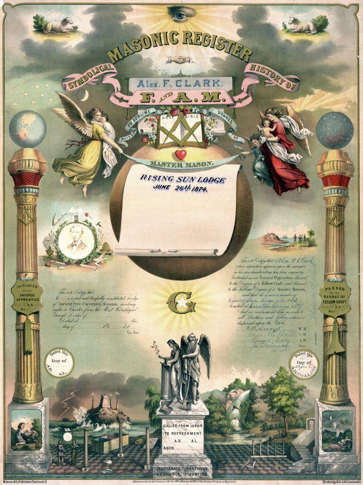 En el siglo XIX, certificados como éste se emitían con regularidad para que los masones pudiesen demostrar que habían tomado los tres grados de la masonería ...