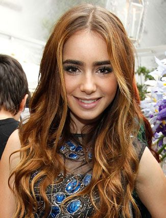 Lily Collins' golden brown highlights