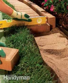 """The Best Garden Bed Edging Tips"" from The Family Handyman. Three really great ideas for garden/flower bed edging AND pictures with descriptions for installing each!"