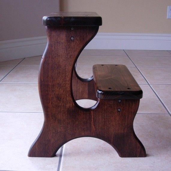 Wooden Step Stool Alder Dark Stain Children S Tip