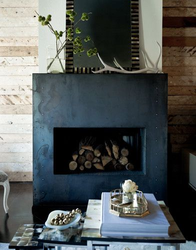 Blackened Steel Fireplace Surround Design, Pictures, Remodel, Decor and Ideas