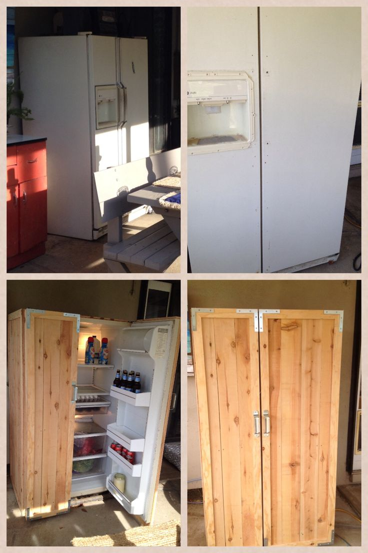 Goodbye old refrigerator and hello beauty!  DIY Refrigerator makeover Items needed:  -6 ft cedar dog eared fence boards -1/2 inch plywood -Hardware -polyurethane spray can: clear satin 1. Cut plywood to fit on top of frig. 2. Cut fence boards to size and nail to plywood on top of frig, use screws to secure to frig 4. Remove all hardware including water/ice dispenser. 5. Cut remainder of ply wood into 2 inch trim.  6. Attach trim with small nails 7. Spray polyurethane 8. Add hardware.