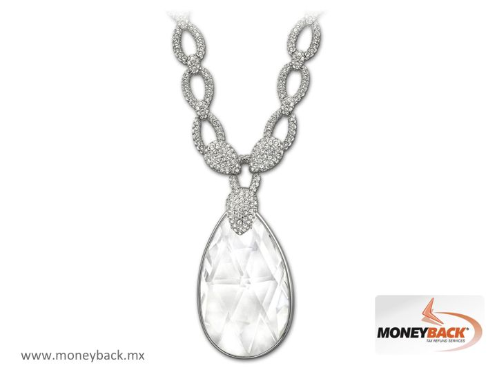 Inspired on Elizabeth Taylor, this sparkling necklace contains a beautiful drop of transparent glass with plated rhodium links decorated in clear pavé crystal giving extra glare to this magnificent piece that will give you a touch of glamour wherever you go. Swarovski Mexico is a business affiliated to Moneyback. Learn how to get a tax refund with your purchase. #taxfreeshopping #moneyback  #taxrefund #travelmexico