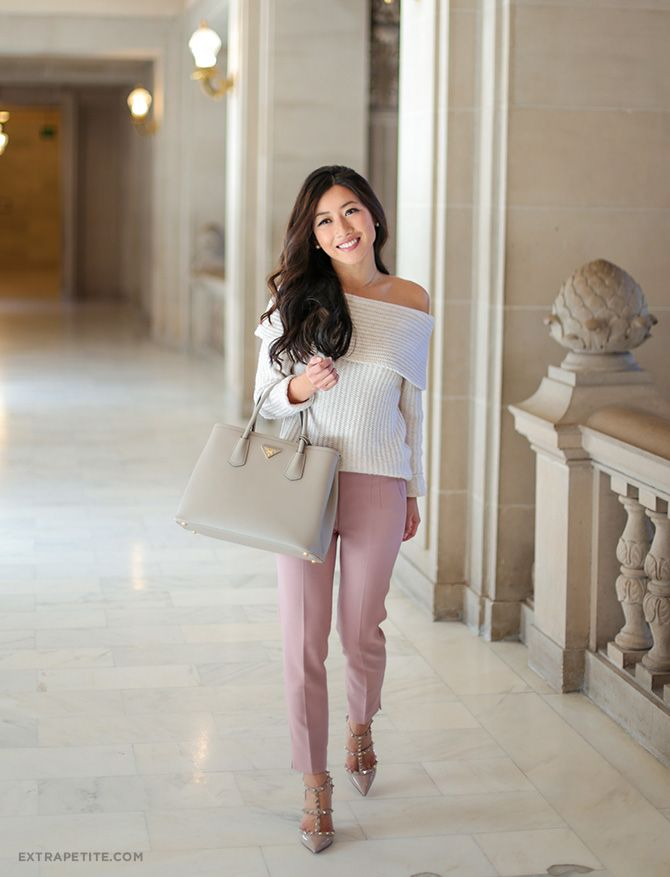 work outfit idea (just pull up the shoulders on this convertible sweater for the office) // cream + mauve + gray
