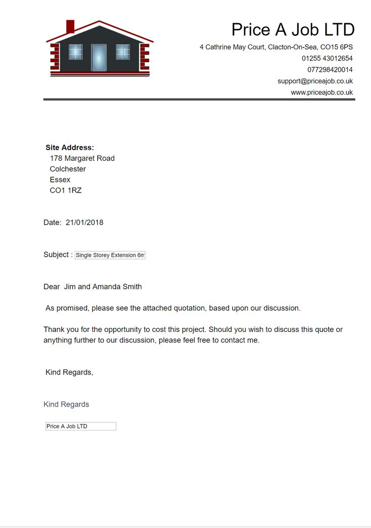 Cover Letter.  Construction Estimating Software support@priceajob.co.uk www.priceajob.co.uk