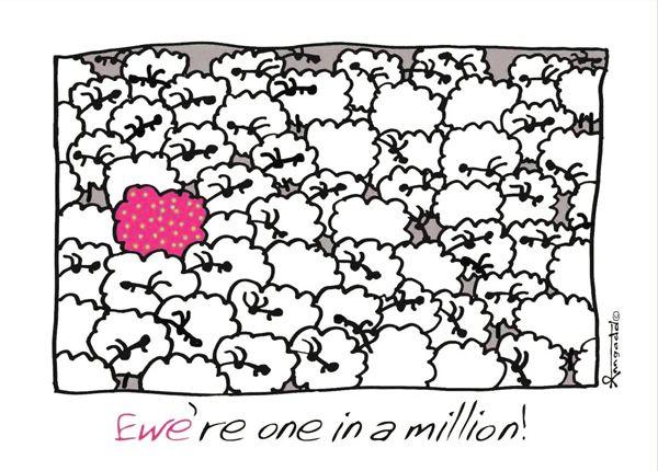 """""""Ewe're one in a million!"""" card by Ann Gadd."""