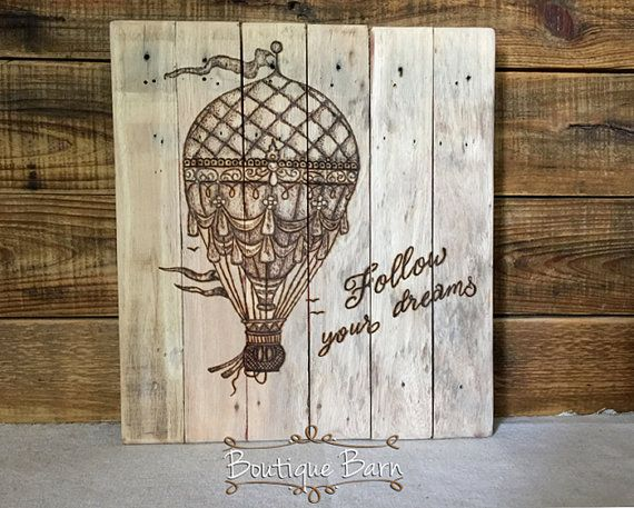 vintage hot air balloon reclaimed wood pallet art. travel themed nursery.