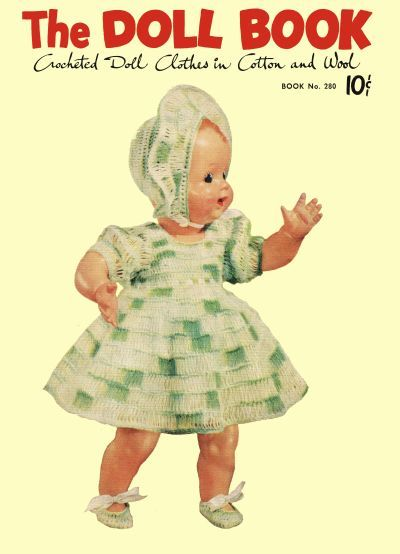 The Doll Book, crocheted doll clothes in cotton and wool. This is a PDF pattern.