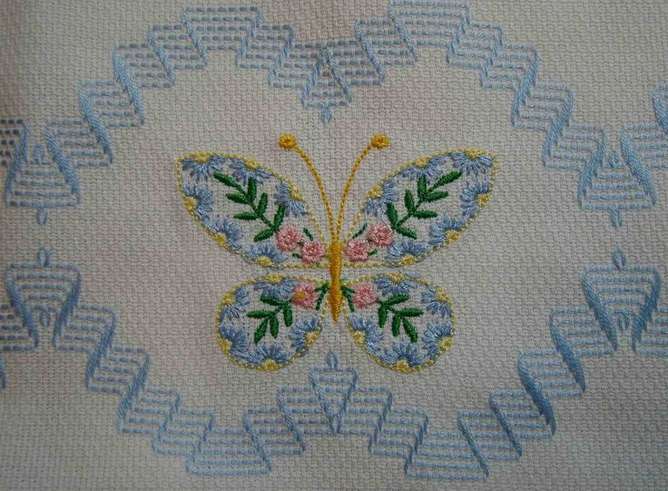 Embellished Kitchen/Bathroom Towels with by FuzzyDuckCreations. Swedish weaving and machine embroidery (butterfly)