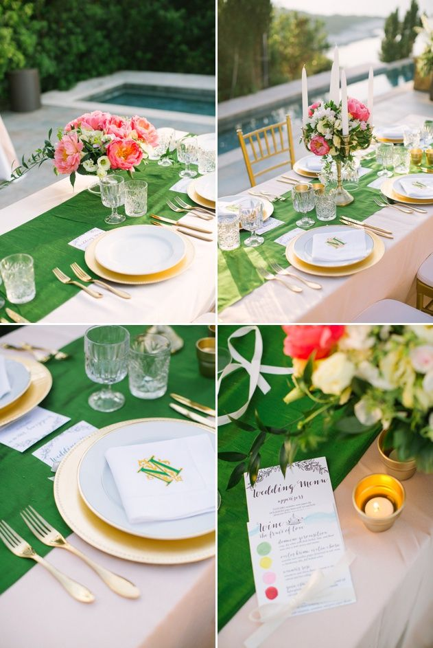 Wedding palette pink, peach, green and white. Vibrant colours and flowers, green table runners and golden charger plates and cutlery. Wedding design by Stella and Moscha Weddings. Photo by Adrian Wood