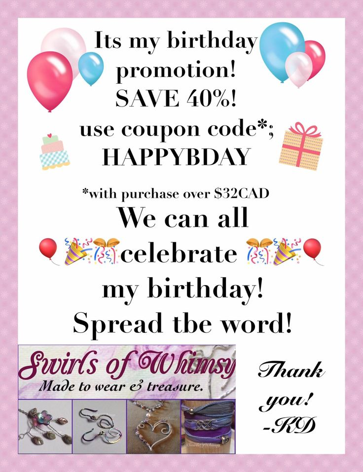Coupon code, HAPPYBDAY to save 40% on orders over $32 CAD. Good until May 5, 2017 in my Etsy shop; www.etsy.com/shop/swirlsofwhimsy