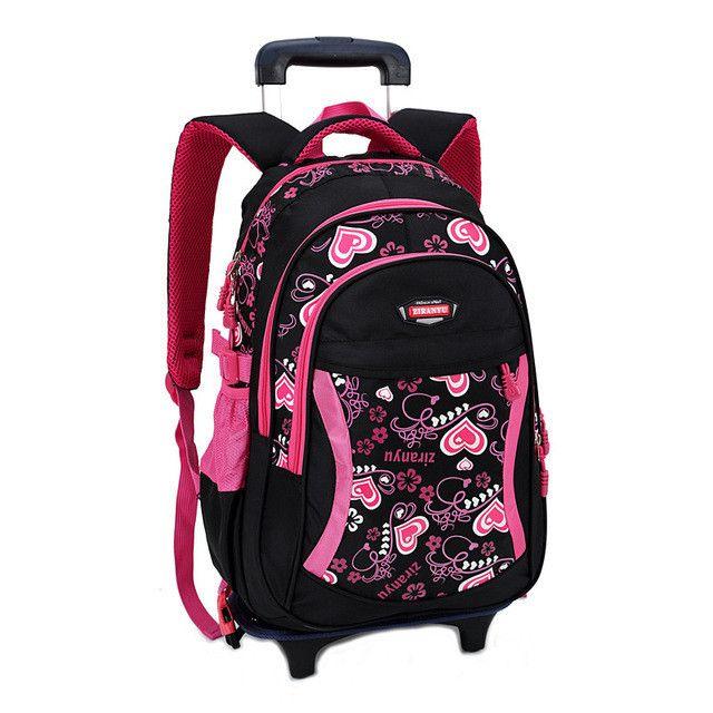 Children Trolley School Bag Backpack Wheeled School Bag For Grils Kids Wheel Schoolbag Student Backpacks Bags Free Shipping