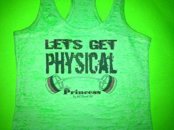 Neon Green Burnout Tank Top. Let's Get Physical Workout Tank Top. Crossfit Tank Top. Ladies Bodybuilding Tank Top. Workout Shirt. Gym Tank.