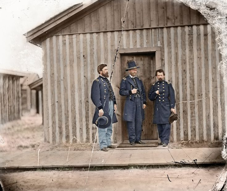 Lieutenant General Ulysses S. Grant and his personal friend, Brigadier General John Rawlins, and an unknown Lieutenant Colonel, at Grants headquarters at City Point, 1865