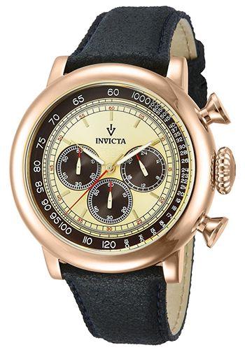 Montre Invicta Vintage Homme - 13060 - Quartz - Chronographe - Bracelet en Cuir Noir - Cadran en Acier inoxydable Or - Date