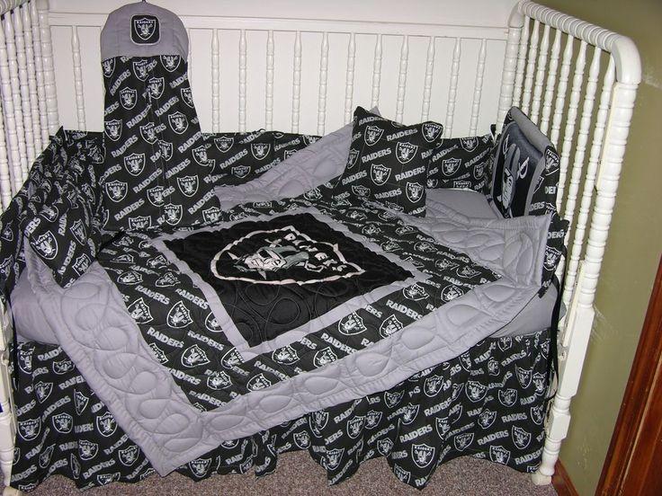 New Crib Nursery Bedding Set Made W Oakland Raiders