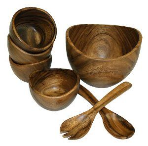 Mountain Woods 7 Piece Organic Acacia Bowl Set:Amazon:Kitchen & Dining