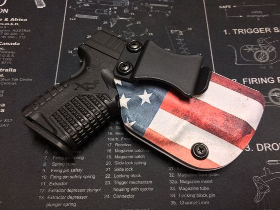 Springfield Armory XDS 3.3 (45/9mm) Custom Holster / IWB / Right Hand - American flag by BRHOLSTERS