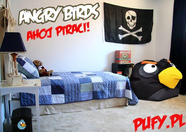 AHOJ Piraci! Melduje, że statek zacumował. Zgłaszam, że wszyscy z Angry Birds znajdują się już na pokładzie. Zabierz jednego na swój pokład i zostań jednym z nas. Uważacie, że Czarny Angry Bird pasuje do pokoju pirata czy lepiej sprawdziłyby się inne ?:) #angrybirds #piraci #zabawa #dzieci #prezent #pokójdziecka #wyobraźnia #wygoda #odpoczynek #pufy #meble #zabawki #pufadrops #małapufa #taniepufy #ekoskóra #poliester