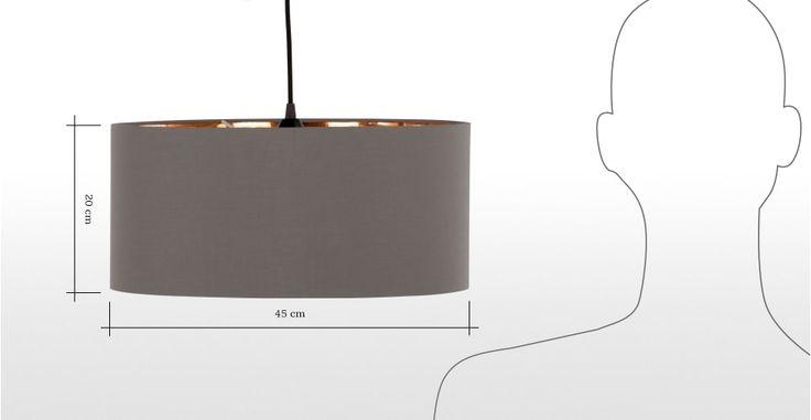 Hue hanglampenkap, grijs & koper | made.com