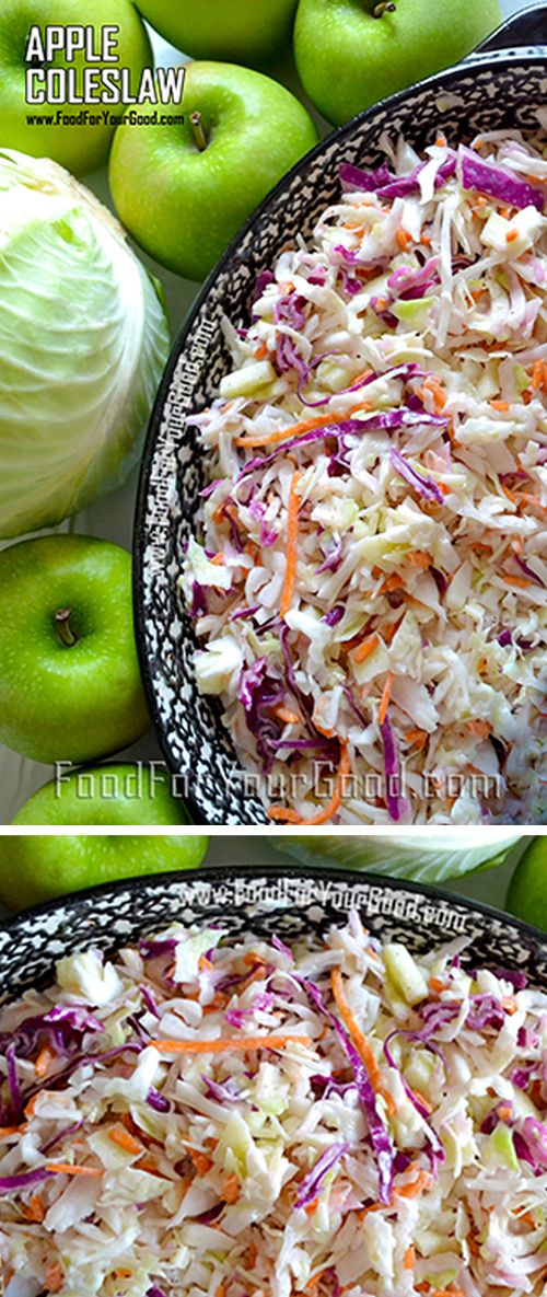 Apple Coleslaw sounds perfect at any time. Your can make it for your favorite barbecue night, serve it as a side with fried chicken or include it in... | Full Recipe on FoodForYourGood.com #apple_coleslaw