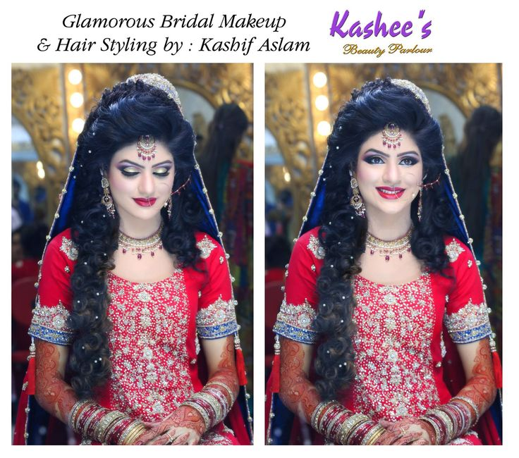 Glamorous bridal makeup and hair styling by kashif aslam
