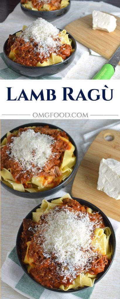 Lamb Ragù - Greek style braised lamb with a hint of cinnamon over pappardelle pasta and topped with freshly grated mizithra cheese.   omgfood.com