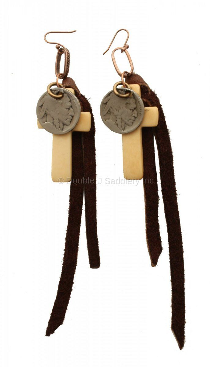 Vestige Chocolate Elk Skin And Cross Earrings  Double J Saddlery Earrings  From Wheelersfeed