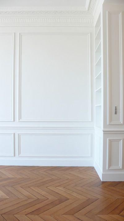 Herringbone floors & white #home decorating| http://homedecorphotos.13faqs.com