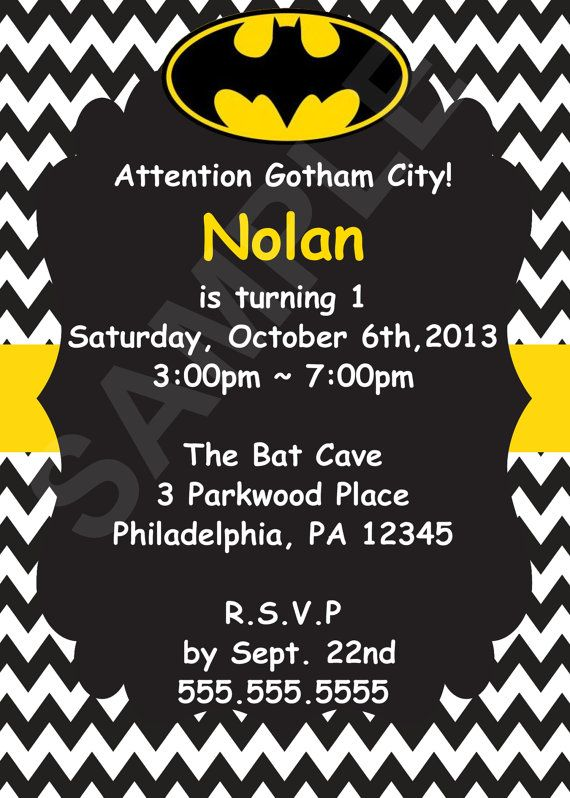 Batman Birthday Invitation Digital File By CutieTootiePrints 800