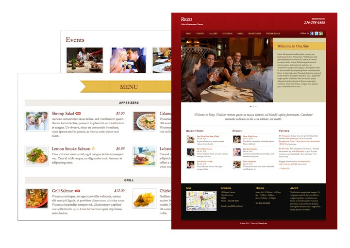 Premium Restaurant WordPress Theme – REZO  Our restaurant theme named Rezo includes some amazing features. You can manage you a custom post type menu listing easily and with a number of layout options. On top of this you get a custom homepage slider to display promotional material and photos.