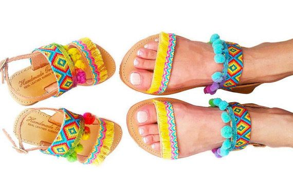 20% OFF Mommy and Me Boho Sandals Matching Pom Pom Sandals