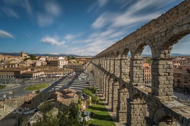Segovia Aqueduct - 49'' long exposure of the Roman Aqueduct in Segovia, Spain. It is one of the best-preserved elevated Roman aqueducts and is the foremost symbol of Segovia,  as evidenced on the city's coat of arms.
