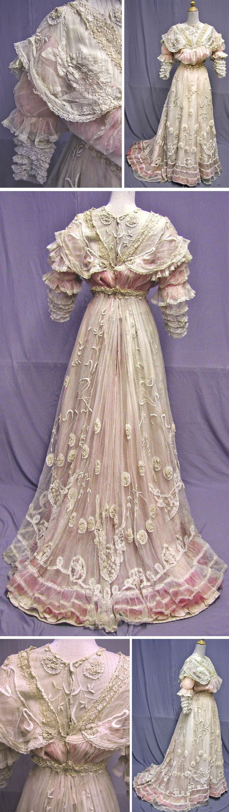 Reception gown for summer, circa 1902. Ivory cotton netting with Cluny lace in a floral pattern, with embroidered vines.