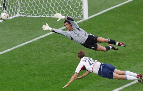 Brian McBride (#20 USA, 1993–2006, 96 caps, 30 goals). McBride's soaring header put the US 3-0 up on Portugal (final score : USA vs Portugal 3-2) in their 1st match at the 2002 FIFA World Cup Korea/Japan at the Suwon World Cup Stadium (Suwon, South Korea) on 5 June 2002.