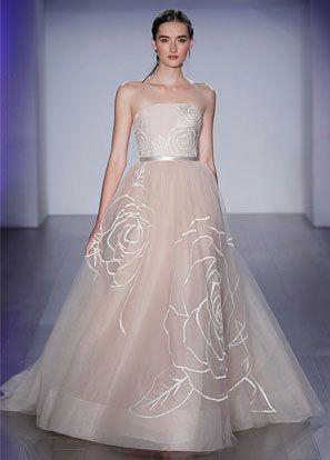 Rose embroidered Nude Tulle bridal ball gown, strapless neckline, natural waist with ribbon detail, sweep train.