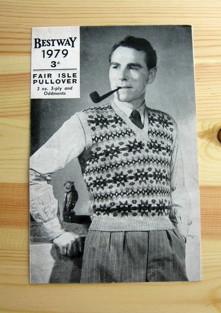 1940s Knitting Pattern Mens Fair Isle Sleeveless Pullover Bestway Wartime Ori...