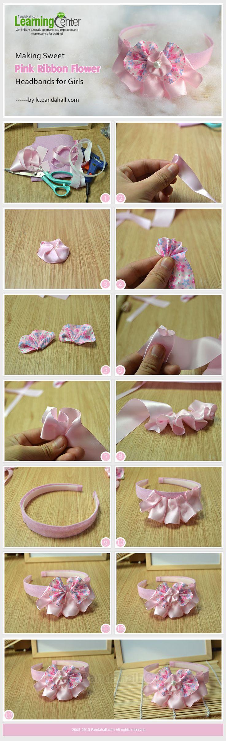 Making Sweet Pink Ribbon Flower Headbands for Girls