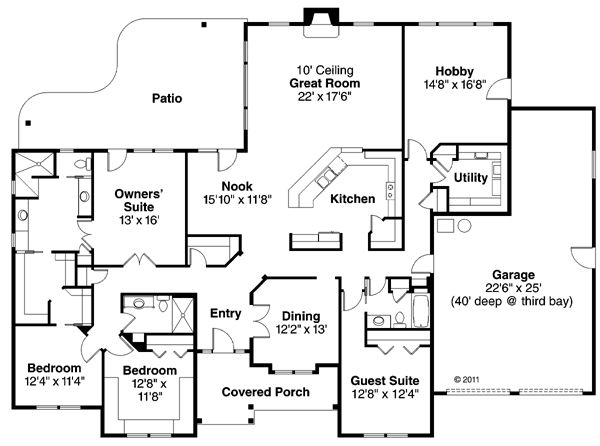 Contemporary European Ranch Traditional House Plan 59427. 36 best house plans images on Pinterest