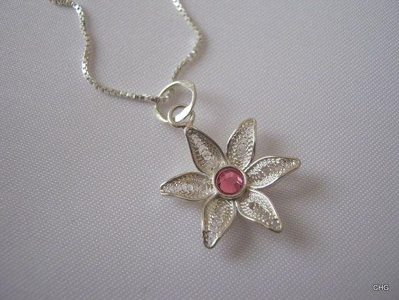 Handmade Sterling Silver Flower Filigree Pendant by TrulyFiligree