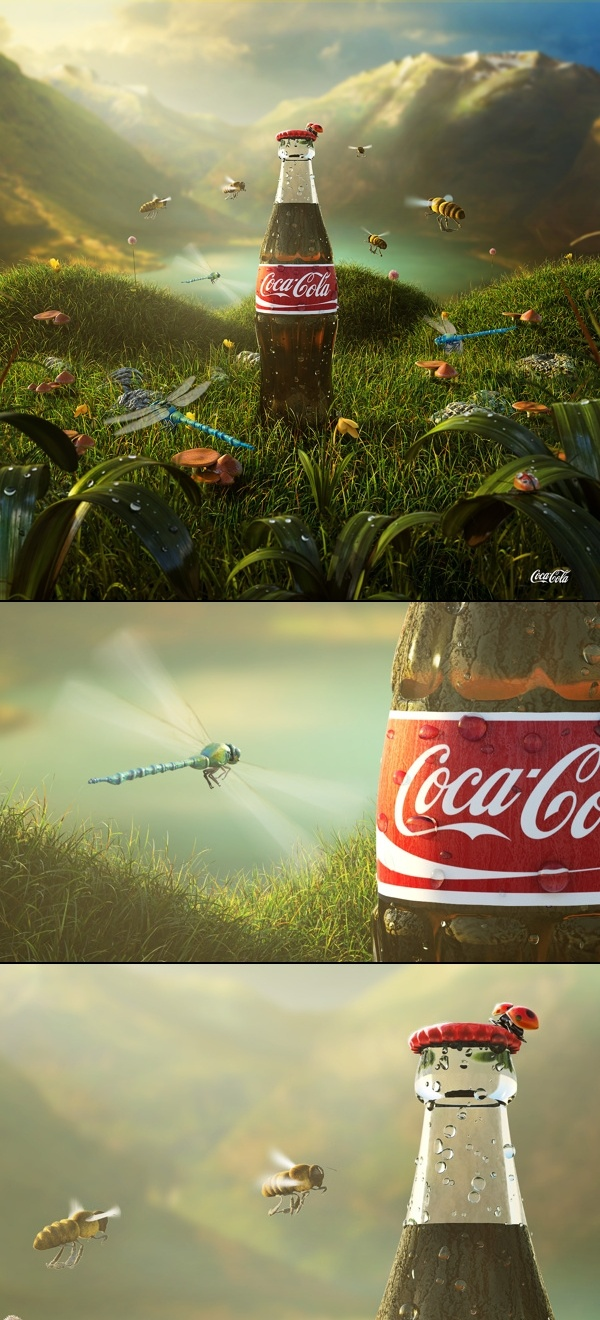 Coca Cola Brand Visual Advertising, Art Direction, Digital Art. The coke is so sweet the insects are drawn to it