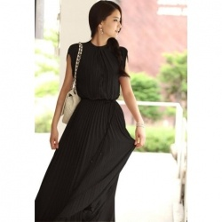 Elegant Stand Collar Soild Color Pleated Chiffon dress: Maxi Dresses, Fashion, Style, Pleated Maxi, Maxis, Chiffon Dresses