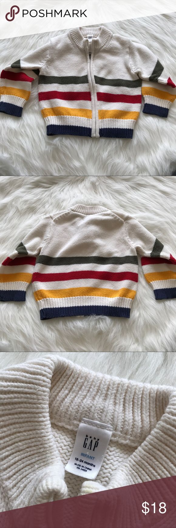 Vintage Baby Gap Striped Zip Up Knit Jacket Excellent Pre-Owned Condition. GAP Jackets & Coats