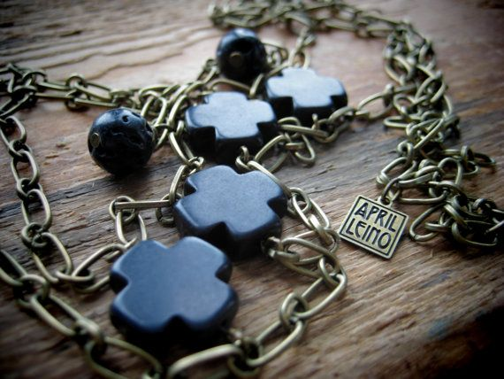 SAFEKEEPING antique brass chain lava obsidian cross by aprilleino
