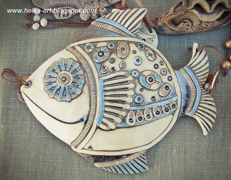 "Suspension ""FISH"" fireclay white clay, glaze effector-ART-piggy from HELKI: Ceramics workshop"