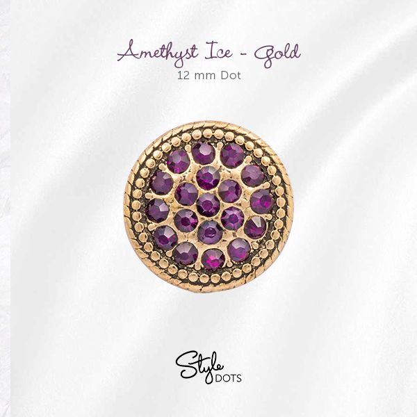 The royal pairing of amethyst with gold makes up our regal Amethyst Ice - Gold 12 mm Dot.