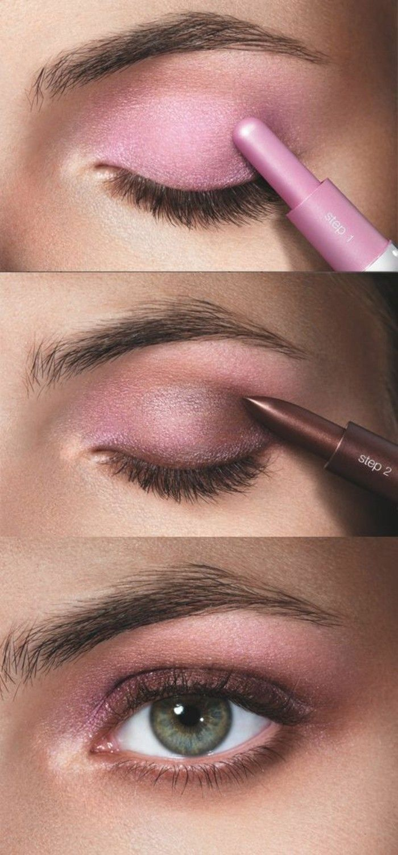 fard a paupiere yeux vert en rose, apprendre à se maquiller les yeux
