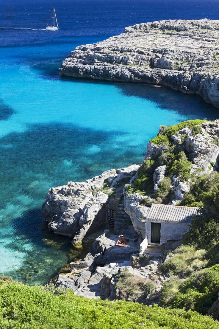"""Cala Binidali, Menorca....I miss the deep blue of the Med, and the """"look"""" that only says the Mediterranean."""