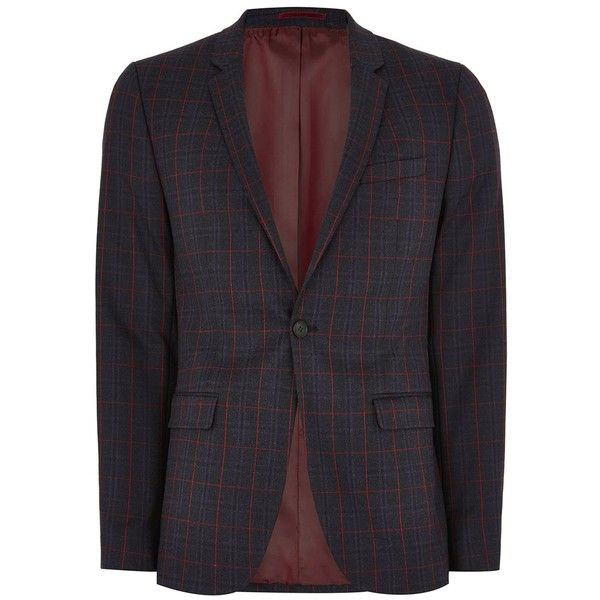 TOPMAN Navy and Red Check Ultra Skinny Suit Jacket (8.680 RUB) ❤ liked on Polyvore featuring men's fashion, men's clothing, men's outerwear, men's jackets, navy, mens red jacket, mens navy jacket, mens navy blue jacket, mens checkered jacket and mens single breasted jacket